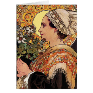 Card: Alphonse Mucha - Art Nouveau - Thistle Card