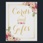 "Card and Gifts | Floral Gold Frame Wedding Sign<br><div class=""desc"">================= ABOUT THIS DESIGN ================= Card and Gifts 