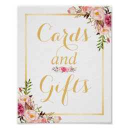 Card and Gifts | Floral Gold Frame Wedding Sign
