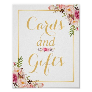 CardHunter Card and Gifts | Floral Gold Frame Wedding Sign Poster