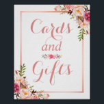 "Card and Gifts | Floral Rose Gold Wedding Sign<br><div class=""desc"">================= ABOUT THIS DESIGN ================= Card and Gifts 