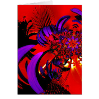 Card Art Digital Red Purple Floral Explode