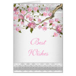 Card Asian Pink Floral Best Wishes or Birthday