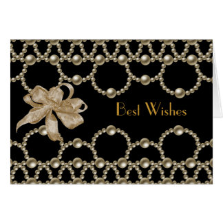 Card Black Pearls Bow Best Wishes or Birthday
