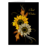 Card Black Sunflower Floral Best Wishes Birthday