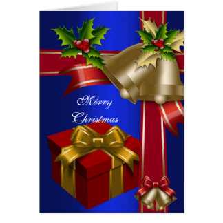Card Christmas Merry Xmas Blue Red Gold Green