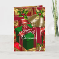 Card Christmas Merry Xmas Red Gold Green