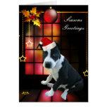Card Christmas Pitbull Puppy Dog Greeting Cards