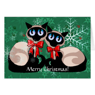 Card - Christmas Siamese Cats