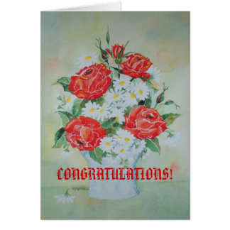 Card Congratulations with Roses and Daises