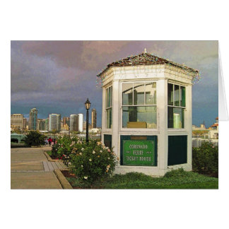 Card: Coronado CA Toll Booth and San Diego skyline Stationery Note Card