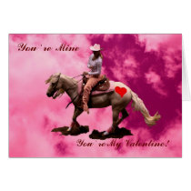 Card- cowgirl valentine reining horse card