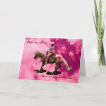 Card- cowgirl valentine reining horse holiday card