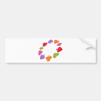 Card Deck Gambling Symbols Car Bumper Sticker