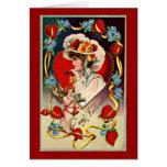 Card del vintage de señora Valentine's Tarjeta De Felicitación