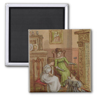 Card depicting a fireside scene 2 inch square magnet