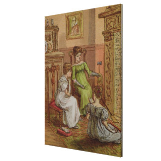 Card depicting a fireside scene canvas print