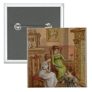 Card depicting a fireside scene pinback button