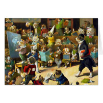 Card: Dog School by Louis Wain Card