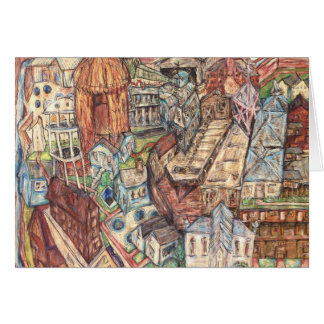 Card drawing of eclectic village done with pastels