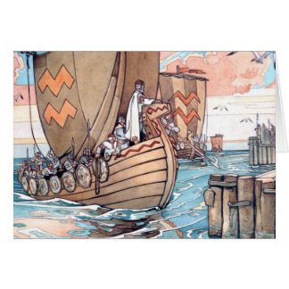 Card- Estonian Viking Boat at Harbour Card