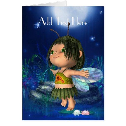 Card Fantasy Art Blue Fairy Girl Greeting Card