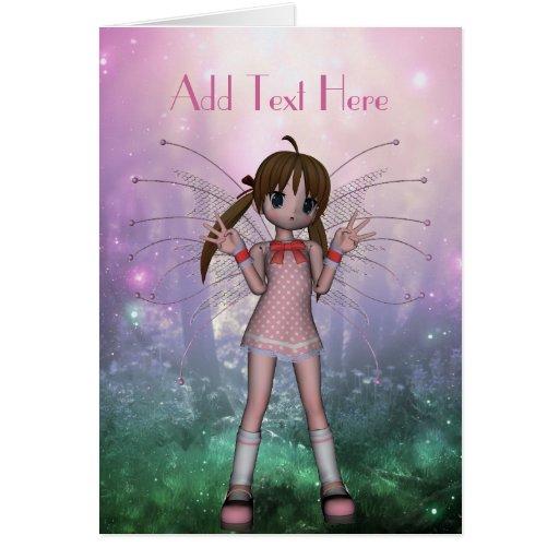 Card Fantasy Art Pink Fairy Girl Card