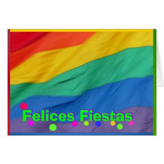Card - Felices Fiestas - Bandera del Arco Iris