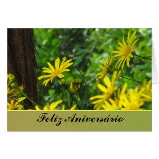 Card - Feliz Aniversário - Margaritas Amarillas