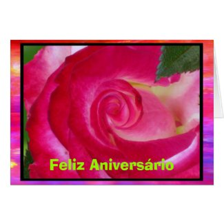 Card - Feliz Aniversário - Rosa rosa