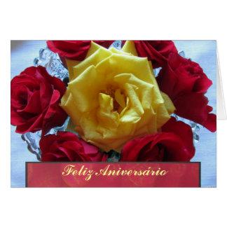 Card - Feliz Aniversário - Rosas Amarillas y Rojas