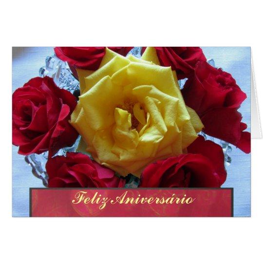 card feliz aniversário rosas amarillas y rojas zazzle com