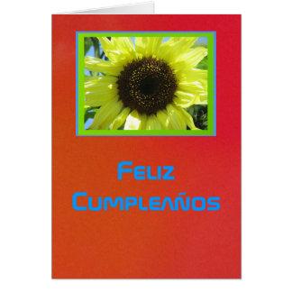 Card - Feliz Cumpleaños - Girasol Amarillo