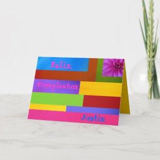 Card - Feliz Cumpleaños Justin - Multicolor