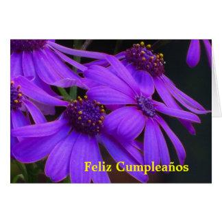 Card - Feliz Cumpleaños - Margaritas púrpuras