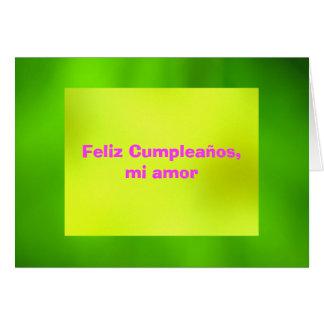 Card - Feliz Cumpleaños, mi amor - Amarilla-Verde