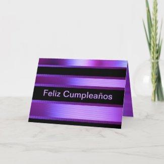Card - Feliz Cumpleaños - Púrpura y Negra