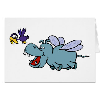 Card:  Flying Hippo & Bird