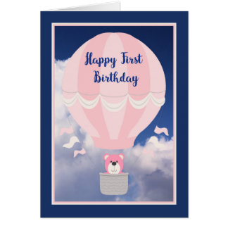 Card for a First Birthday, Hot Air Balloon & Bear