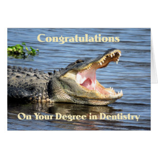 Card for Degree in Dentistry Humor with Alligator