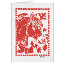 Card For Fjord Horse Lovers - Red