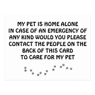 CARD FOR *PETS* IN CASE ***YOU** HAVE AN EMERGENCY