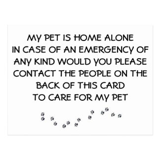 """CARD FOR """"YOUR PET"""" IN CASE YOU HAVE AN EMERGENCY"""