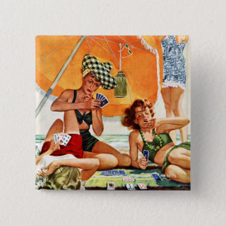 Card Game at the Beach by Alex Ross Pinback Button