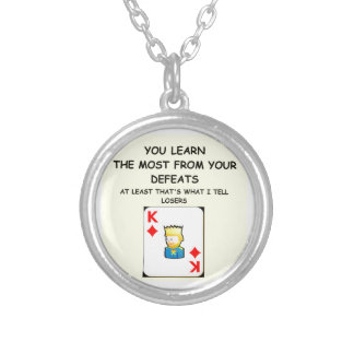 card games round pendant necklace