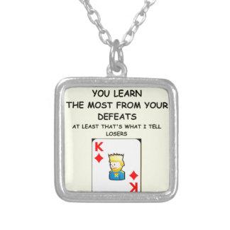 card games square pendant necklace