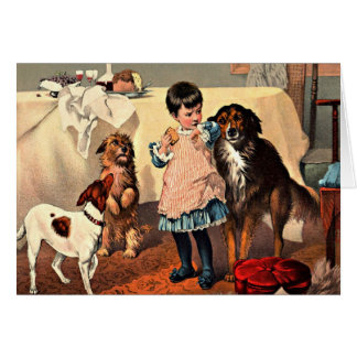 Card: Girl and Dogs