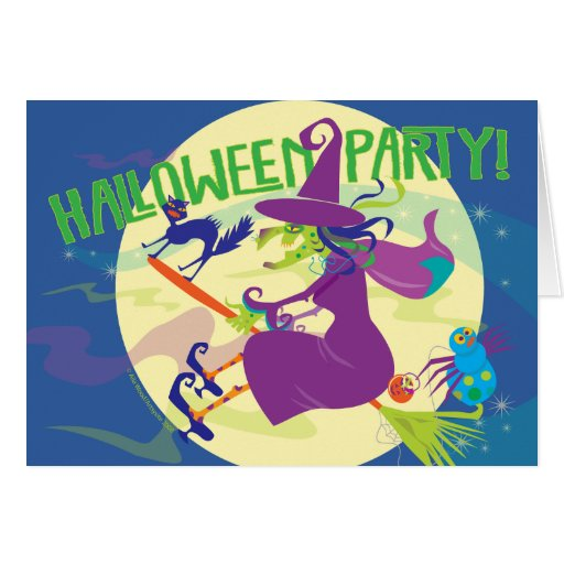 CARD Halloween Party Invitation ~ Witch