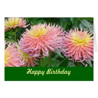 "card, ""HAPPY BIRTHDAY"" DAHLIAS, PINK & YELLOW Card"
