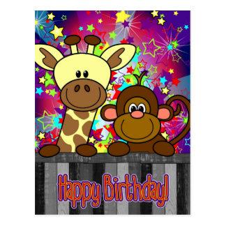card - happy birthday - disco litte monkey and